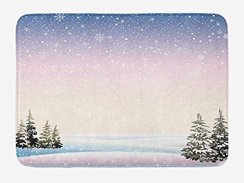 ASKYE Winter Bath Mat, Snowfall in The Forrest Pine Trees Northern Hemisphere December Frozen Temperatures, Plush Bathroom Decor Mat with Non Slip Backing, 23.6 W X 15.7 W Inches, Multicolor