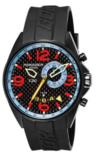 TORGOEN Swiss T30303 - Reloj analógico de cuarzo para hombre, correa de plástico color negro