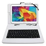 Etui blanc + clavier intégré AZERTY pour Samsung Galaxy Tab 4 (SM-T530/T533), Tab A 9,7' (T550) et Tab A 10.1 (2016) T580 tablettes 10.1' - stylet tactile BONUS + Garantie DURAGADGET de 2 ans