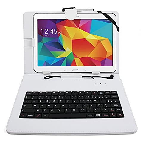 Etui blanc + clavier intégré AZERTY pour Samsung Galaxy Tab 4 (SM-T530/T533), Tab A 9,7