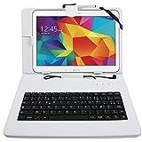 """Etui blanc + clavier intégré AZERTY pour Samsung Galaxy Tab 4 (SM-T530/T533), Tab A 9,7"""" (T550) et Tab A 10.1 (2016) T580 tablettes 10.1"""" - stylet tactile BONUS + Garantie DURAGADGET de 2 ans"""