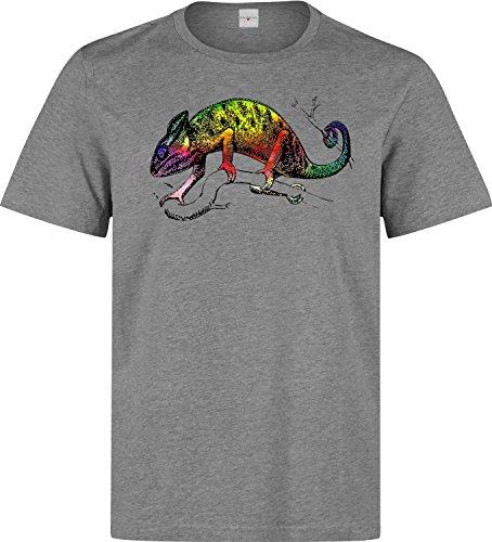 Colorful lizard chameleon dope art logo Herren baumwolle t-shirt Grau