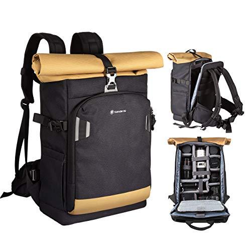 TARION Pro XP Kamerarucksack Fotorucksack mit Kamera-Schnellzugriff für Canon Nikon Sony Kameras mit 15 Zoll Laptopfach & wasserdichte Regenhülle | 19 Liter Schwarz Gold