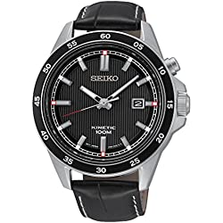 Seiko SKA647P1-Men's Automatic Watch Automatic Analogue Black Dial Black Leather Strap