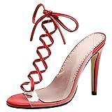 YE Damen Damen High Heel Slingback Durchsichtig Schnür-Sandalen Offen mit 10cm Absatz Elegant Abend Sommer Schuhe