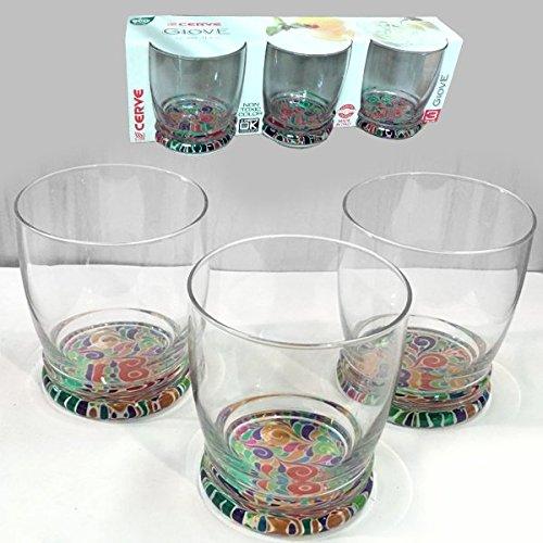 Set 3 bicchieri bicchiere basso trasparenti colorati acqua bibita cocktail 34 cl linea cerve giove