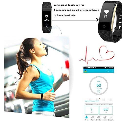 ROGUCI 0.96 Zoll OLED Bluetooth intelligenter Verfolger/Tracker, IP67 Wasserdichtes Tragbares Armband Wristband, Fitness Tätigkeits-intelligente Spurhaltung Armbinde mit Puls-Monitor, mehrfacher Bewegungs-Modus Fahrrad-Reiten , kompatibel mit androiden Smartphones 4.3 IOS iphones 7.0 BT 4.0 - 8
