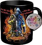 2563 Geburtstag Geschenke-Set Feuerwehr: IST DAS ZU HEISS BIST DU ZU SCHWACH Feuerwehrmann. Premium Geschenk Tasse Keramik, Original RAHMENLOS® in Geschenkbox + Button Happy Birthday