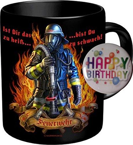 2563 Feuerwehr Tasse: IST DAS ZU HEISS BIST DU ZU SCHWACH Feuerwehrmann. Premium Geschenk Tasse Keramik, Original RAHMENLOS ® Geschenkidee in Geschenkbox + Button Happy Birthday