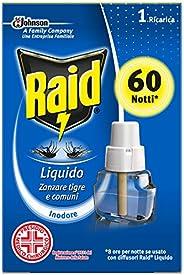 Raid Liquido Elettrico con Diffusore Efficace contro Zanzare Tigre e Zanzare Comuni 60 Notti, 1 Confezione da