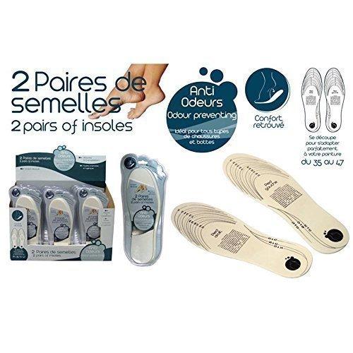 L'étui 2 paires de Semelles Anti-odeur Homme Femme Enfants pointures à Découpé 35 au 47