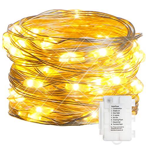 KooPower 50er LED Lichterkette,Batterie Lichterketten Außen,Silberdraht Lichterkette 8 Modi, Timer-Program,IP65 Wasserdicht für Outdoor,Garten,Weihnacht.(Warmweiß) -