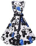 bbonlinedress 50s Retro Schwingen Vintage Rockabilly Kleid Faltenrock BlueFlower XS