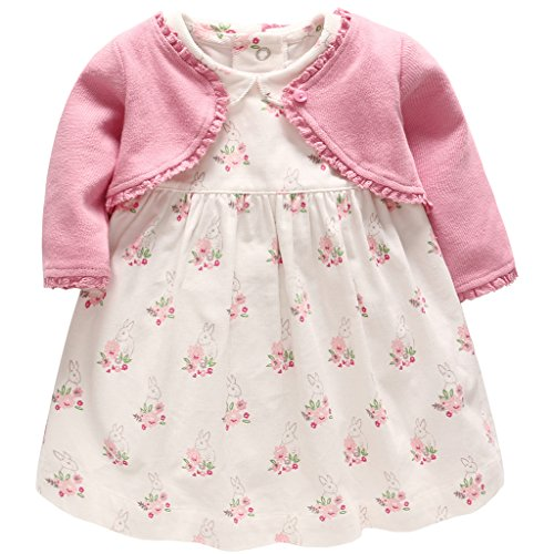 Baby Mädchen Blumenkleid und Strickjacke Set - 2 Stück Outfits Kleidungssets 6-9 Monate