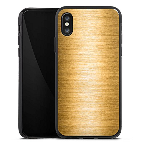 Apple iPhone X Silikon Hülle Case Schutzhülle Metall Look Gold Metal Silikon Case schwarz