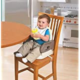 GoodLuck Baybee Comfort Folding Booster Seat|Toddlers Booster Seat for Eating with 3-Point Harness Secures Baby Tightly,Built-in Cup Holder (Grey)