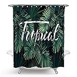 Bishilin 3D Duschvorhang Anti-Schimmel Palme Blätter Vintage Duschvorhang 150x180 cm