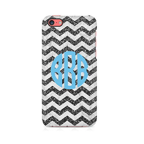 Personalized Black Space Stars Galaxy Custom Monogram Monogrammed Initials Custodia Protettiva In Plastica Rigida Cover Per iPhone 5 / iPhone 5s / iPhone SE Case Black White Chevron