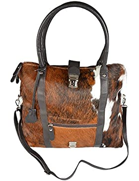 Große Damen Handtasche, Trachtentasche aus weichen Kalbsleder, Vorderseite aus echtem Kuhfell! Tasche ist faltbar!