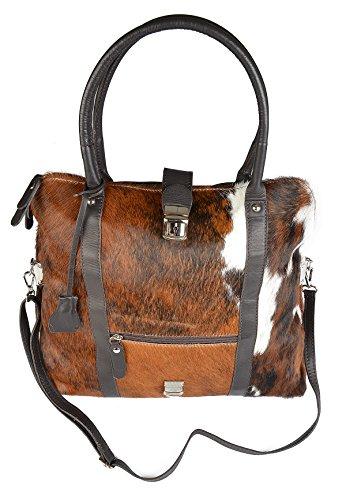 - Kalbsleder-tasche (Große Damen Handtasche, Trachtentasche aus weichen Kalbsleder, Vorderseite aus echtem Kuhfell! Tasche ist faltbar!)