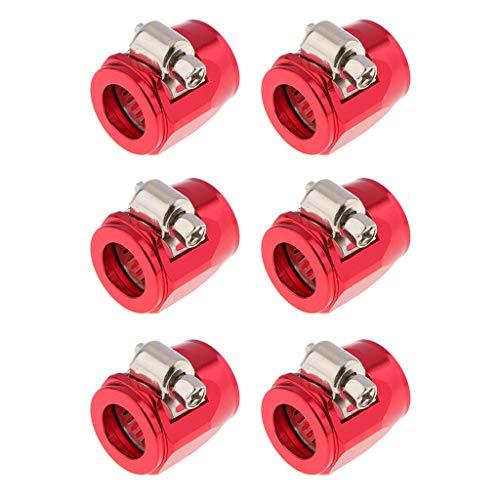 Almencla 6Pcs 8AN Kraftstoffleitung Schlauchschelle Schlauchendstü Für Kraftstoff/Wasser/Öl/Luftleitung Aluminiumlegierung, Rot -