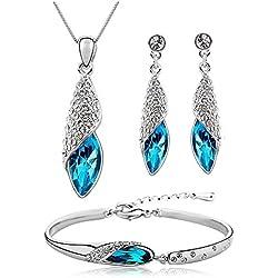 Tiaraz Fashion Blue Platinum Plated Austrian Crystal Kadaa Bangle Bracelet for Women & Girls
