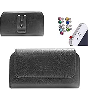 DMG Premium PU Leather Cell Phone Pouch Carrying Case with Belt Clip Holster for Asus Zenfone 5 (Black) + 3.5mm Jewel Dust Jack