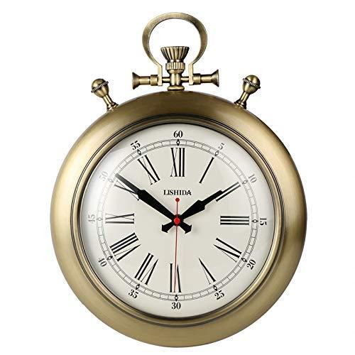 JY&WIN Europäische antike taschenuhr stumm wanduhr Amerikanischen Retro Mode wandkarten kreative persönlichkeit Uhr einfache Europäische wanduhr (Farbe: Gold)