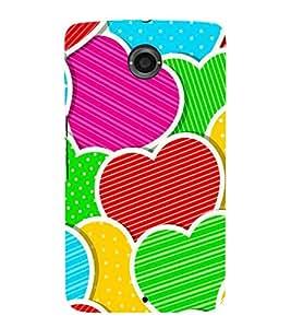Multi Colour Hearts 3D Hard Polycarbonate Designer Back Case Cover for Motorola Nexus 6 :: Motorola Nexus X :: Motorola Moto X Pro :: Motorola Google Nexus 6