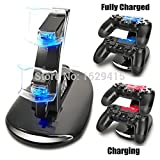 Generic 8 In 1 Dual Usb Charging Remote Controller Chargers Stand & Sticks Grip & Led Sticker For Playstation 4 Ps4 Pro Slim Controller