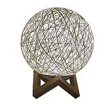 MMLsure® Rattan-Ball Tischlampe Nachttischlampe mit Halterung,Batteriebetrieben Innen Nachtlicht für Hochzeit, Geburtstag Party, Weihnachtsdeko,Geschenk (A)