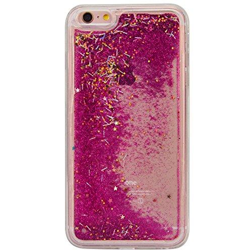 """WE LOVE CASE iPhone 6 / 6s 4,7"""" Hülle Weich Silikon iPhone 6 6s 4,7"""" Schutzhülle Handyhülle Im Durchsichtig Transparent Crystal Clear Treibsand Glitzer Liquid Quicksand Funkeln Stern Liebe Silber Ster Rose"""
