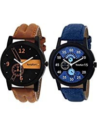 Tutile Stylish Leather Strap Combo Pack Of 2 Analogue Round Blue And Brown Wrist Watches For Men And Boys
