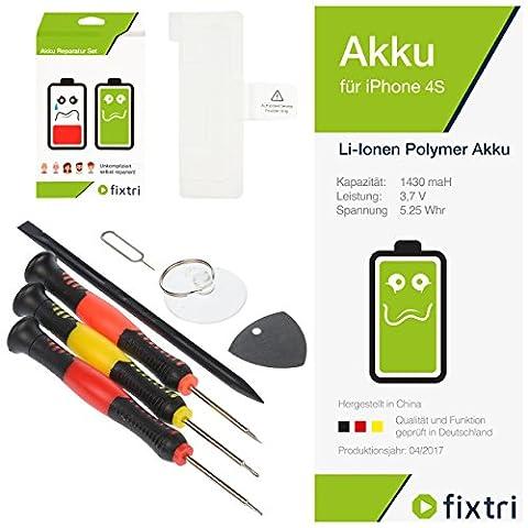 iPhone 4S Akku Reparaturset mit Werkzeugset Klebepad und Anleitung von Fixtri® in Original