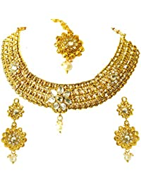 [Sponsored]Surat Diamond Traditional Rajasthani Choker Style Gold Plated Designer White Colored Stone Fashion Jewellery Set...