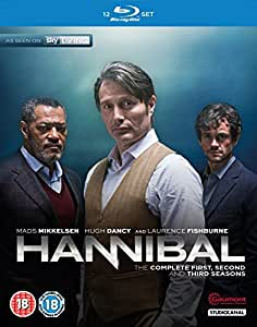 Hannibal: The Complete First, Second & Third Season - Blu-ray - Studio Canal | 2013-2015 | 3 Seasons | Rated BBFC: 18 | Oct 19, 2015 - Starring: Hugh Dancy, Mads Mikkelsen, Caroline Dhavernas, Laurence Fishburne, Scott Thompson, Aaron Abrams - Directors: Michael Rymer, Guillermo Navarro, Vincenzo Natali, David Slade, Tim Hunter, John Dahl