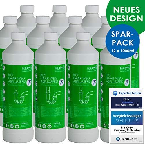 Bio-Chem Haar-Weg Abfluss-Frei Sparpack 12x1000 ml Abflussreiniger Rohrreiniger chlorfrei