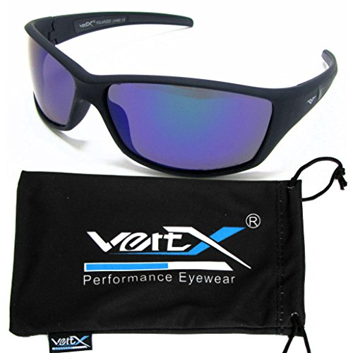 VertX Herren polarisierte Sonnenbrille Sport Radfahren im freien Weichgummi-Finish - Schwarzer Rahmen - Grüne Linse