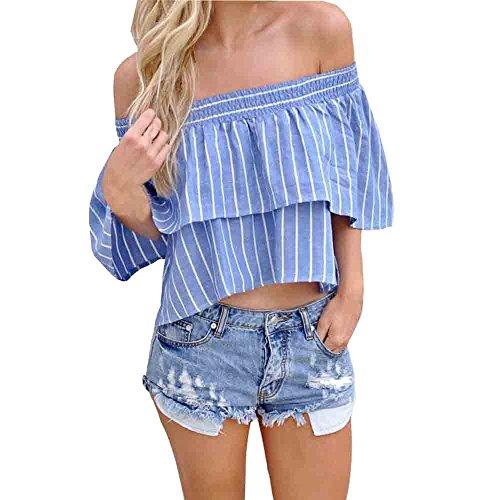 KanLin Frauen aus Schulter Streifen Casual Bluse T-Shirt Tops Blue