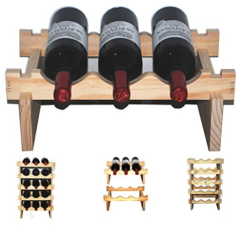 YINO robuste Holz Weinregal stapelbare Display Regale 3-108 Flaschen Regal Lagerung Inhaber, Holz,...