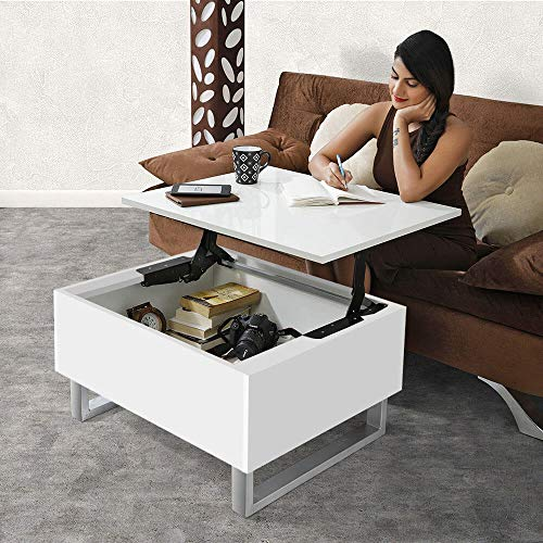 Invisible Bed Coffee Table With Storage And Lift Up Tabletop(Wool White)