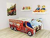 Alcube | Kinderbett Auto-Bett Feuerwehr | 140 x 70 cm | mit Rausfallschutz, Lattenrost und Matratze | MDF beschichtet