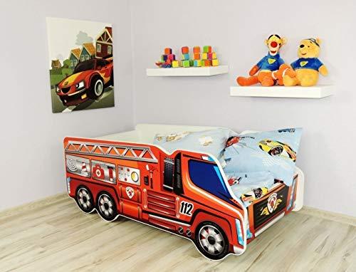 Alcube   Kinderbett Auto-Bett Feuerwehr   140 x 70 cm   mit Rausfallschutz, Lattenrost und Matratze   MDF beschichtet