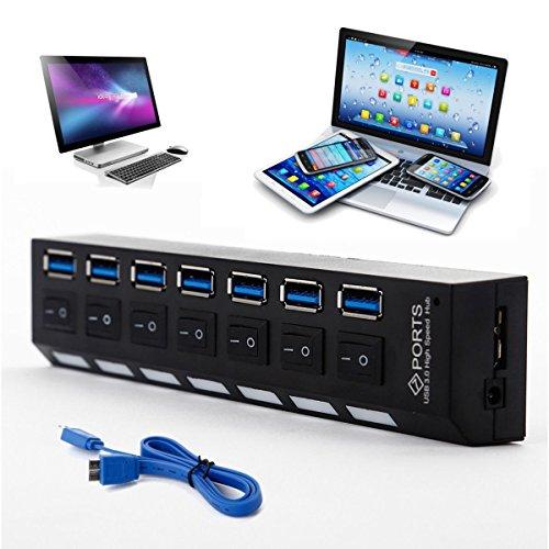 ONCHOICE 7 Port Puertos USB 3.0 Hub Interruptor Encendido/Apagado Alta Velocidad + AC Cable Alimentación Ordenador USB