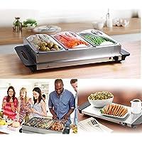Servidor de buffet bandeja de calentamiento Calentador de alimentos bandejas plato caliente 3Pan 300W acero inoxidable