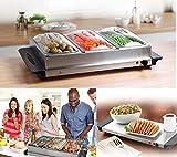 New Buffet Server Erwärmung Tablett Speisewärmer Tabletts Warmhalteplatte 3Edelstahl Pfanne 300W