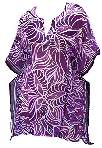 LA LEELA Bademode Chiffon Kaftan Kleidbadebekleidung Puffärmeln verschleiern Plus Größe Badeanzug Kimono Zeitkleidung violett