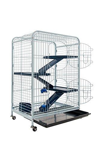 TYROL Cage pour Rongeurs TOWER, Accessoires inclus, Coloris Bleu / Noir, Dim. 64x44x93 cm