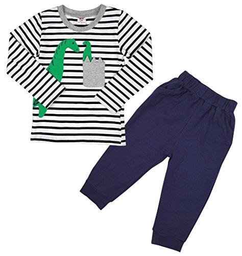Little Hand Kinder Schlafanzug Lang Jungen Zweiteilige Dinosaurier Pyjama Baumwolle Nachtwäsche 98 104 110 116 (Dinosaurier-nachtwäsche)