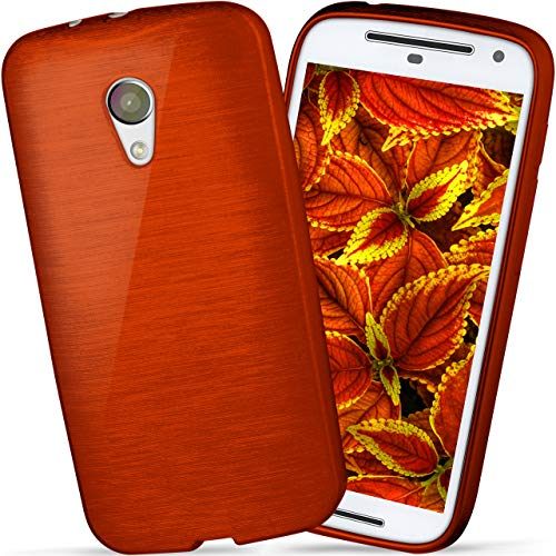 moex Motorola Moto G2 | Hülle Silikon Rot Brushed Back-Cover TPU Schutzhülle Ultra-Slim Handyhülle für Motorola Moto G 2. Generation Case Dünn Silikonhülle Rückseite Tasche